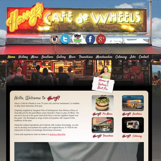 harrys cafe de wheels custom wordpress site