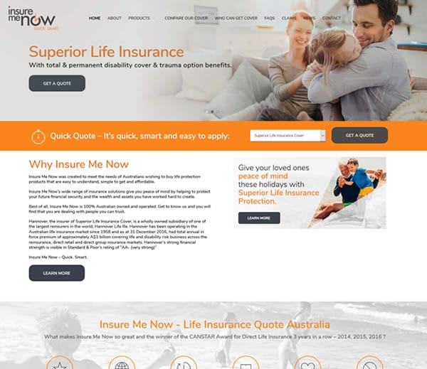 Insure Me Now WordPress Theme Customisation